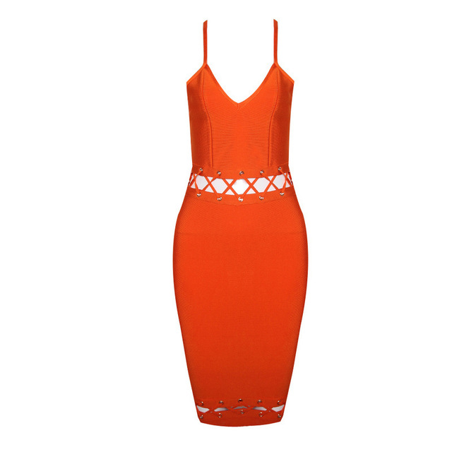 Orange Pink Hollow Out Women Bandage Dress Sleeveless Bodycon Boutique Celebrity Party Vestidos Casual Travel Work Club Wear
