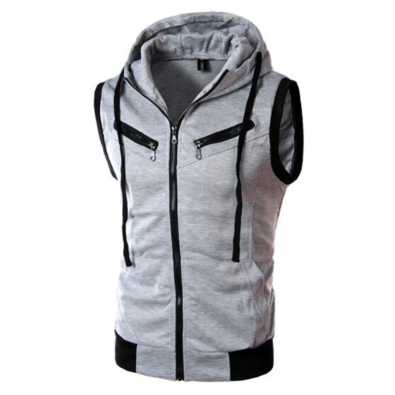New Autumn Vest Men Casual Hooded Collar Mens Waistcoat Sleeveless Jacket Men Fashion Vests