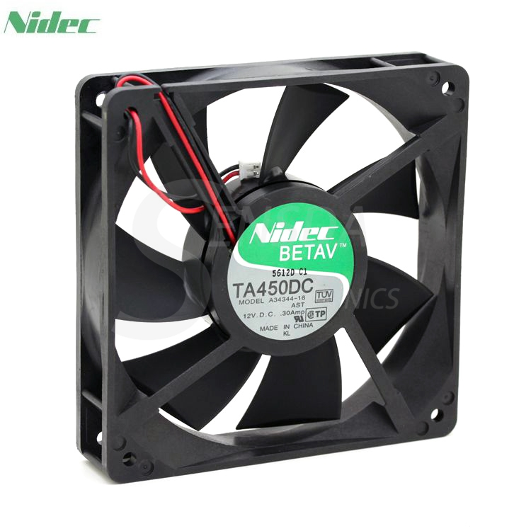 Nidec TA450DC  A34344-16 AST  12cm 120mm DC12V 0.30A Server 120x120x25mm 2-wire axial cooling fan nidec d12e 12ps2 01b 12038 120mm 12cm dc 12v 1 70a 12 cooling fan server inverter case cooler