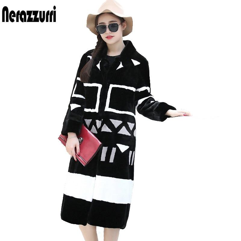 Nerazzurri Kunstpelzmantel Frauen 2019 Winter Kontrastfarbe Elegant - Damenbekleidung - Foto 3