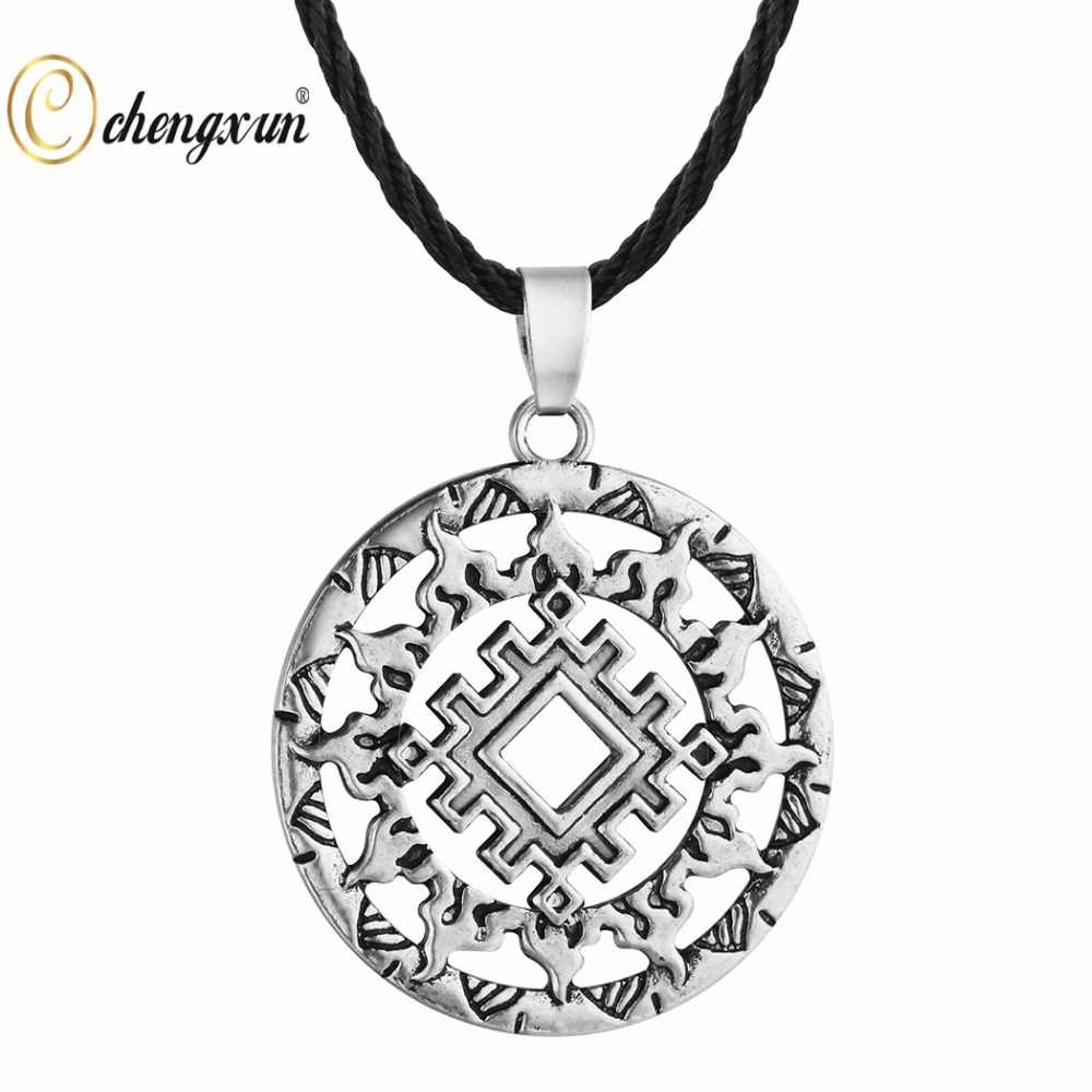 CHENGXUN, мужское ожерелье для мальчика, Викинг, Ретро стиль, солнце Одина, Hugin, ювелирное изделие, одноцветная подвеска, панк ожерелье, круглая подвеска, амулет