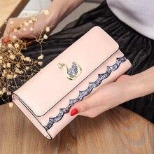 2019 ladies long wallet fashion trend rhinestone clip cute cartoon diamond swan pattern clutch bag female