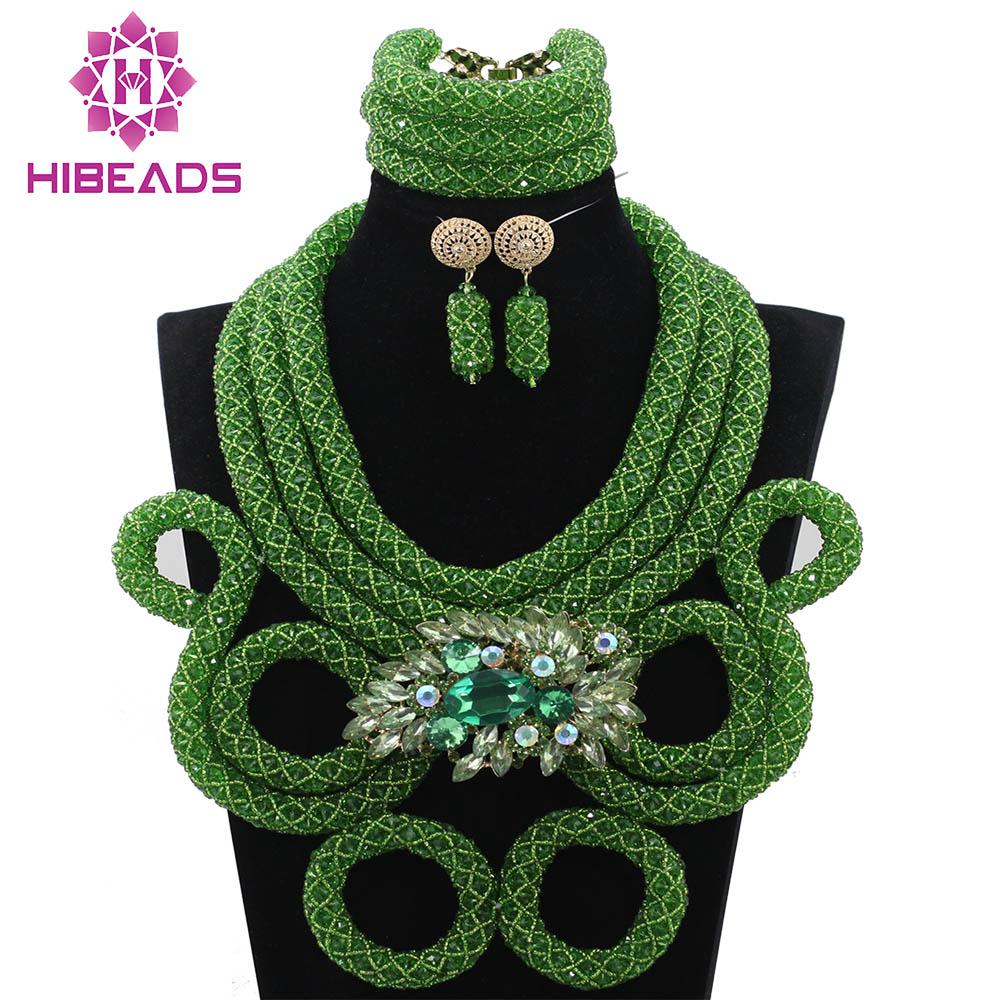 c9decf8194b2 Lleno de cristal cuerda cadena fabulosa nigeriana verde Cuentas Juegos de  joyería partido aniversario collar set envío libre abh235
