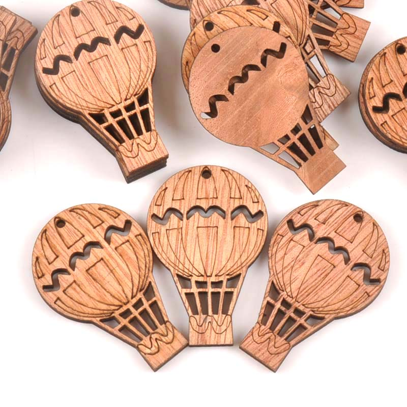 20Pcs Vintage Hydrogen Balloon DIY Wooden Ornaments Scrapbook Craft Unfinished Natural Wood Slices For Home Decor 49X32mm M1614