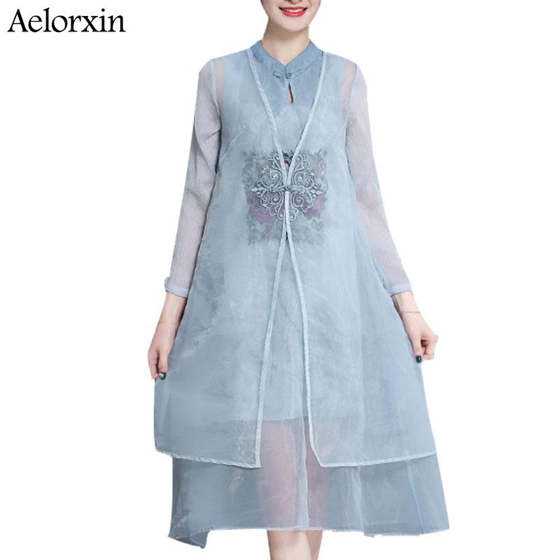 Aelorxin 2019 Don Qadın Yaz İki Parça Vintage Çiçəkli Naxış - Qadın geyimi - Fotoqrafiya 2