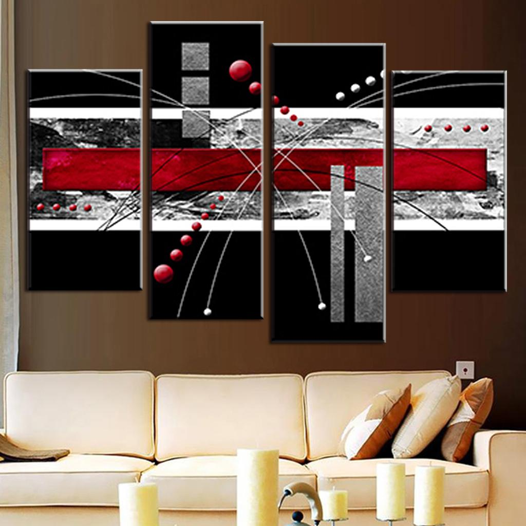 4 Pcs/Set Canvas Wall Art Picture Red Black Grey Combined Canvas Modern Abstract Wall Painting Wall Art Top Home Decoration-in Painting u0026 Calligraphy from ... & 4 Pcs/Set Canvas Wall Art Picture Red Black Grey Combined Canvas ...