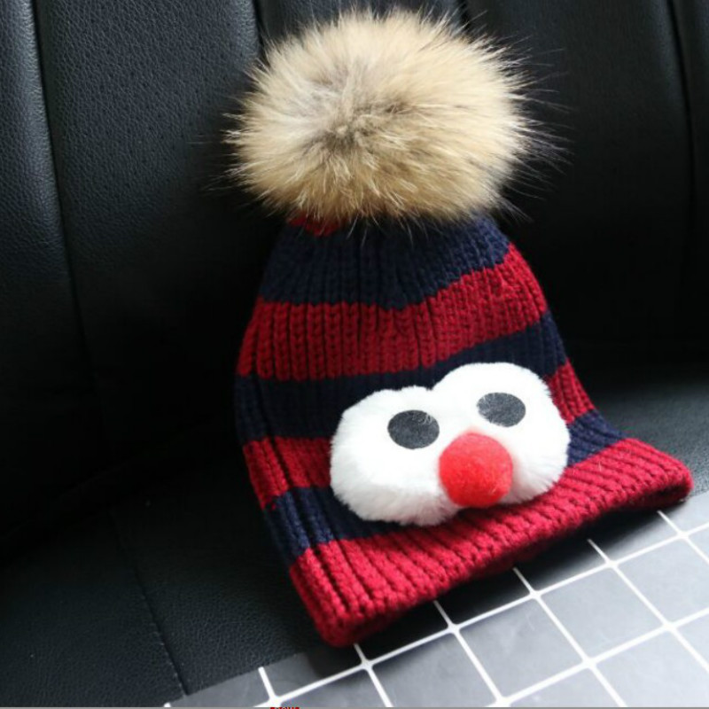 Winter racoon fur Hats for Girls Children Kids Boys Warm Knitted Children's Hat Baby Caps Big Eyes Skull Beanies Hip Hop Cap roomble люстра racoon white