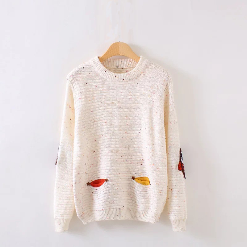 Winter Sweater Woman 2018  Autumn O-Neck Collar New Owl Character With Pocket Loose Cashmere Sweater Pink Plus Size Pullovers