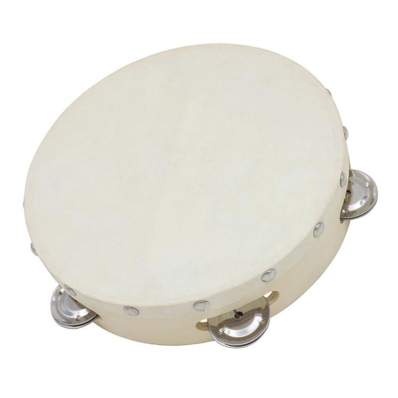 "8"" Musical Tambourine Drum Sheepskin Drumhead Round Percussion Gift for KTV Party"