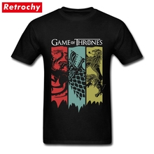 80S Vintage Fashion Game Of Thrones T Shirt fan Movie House Stark Tee Targaryen Shirt lannister T-shirt Homme Short Sleeves Tee