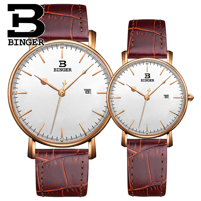 Wristwatch Binger Men Casual Watch Women Fashion Lovers Quartz Watches New Luxurious High end Business Watch relogio masculino basid 2017 new arrival quartz watch couple lovers wristwatch casual fashion genuine leather watches men women sports relogio