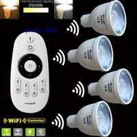 4 × 2.4グラムgu10 5ワット色温度調整可能なデュアル白cw + ww cct wiifi互換led電球+ 1 × 2.4グラムmi. lightワイヤレスリモート