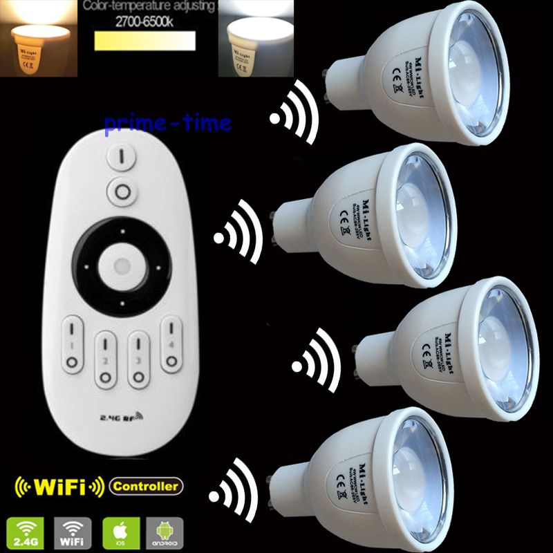 4x 2.4G GU10 5W Color Temperature Adjustable Dual White CW+WW CCT WiiFi Compatible LED Bulb +1x2.4G Mi.Light Wireless Remote dimmable mi light 2 4g gu10 5w color temperature adjustable dual white cw ww led bulb lamp ac85 265v 110v 220v wifi compatible