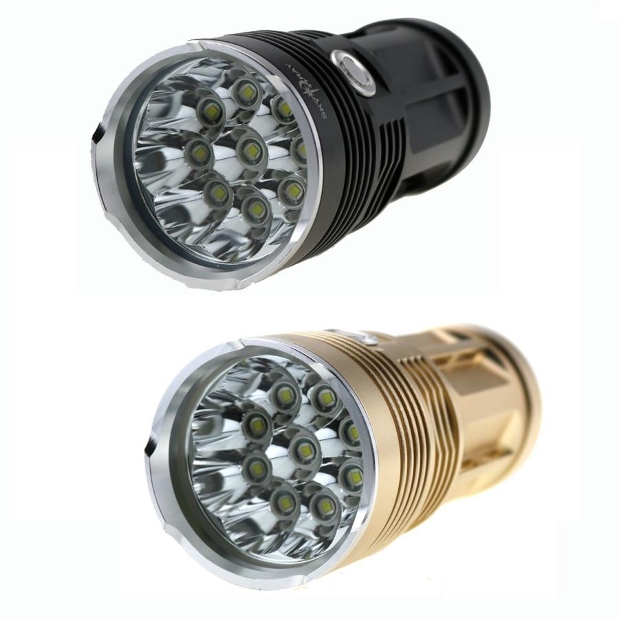 Skyray 9x CREE XM-L T6 18000 Lumens LED Flashlight Waterproof Bike Torch Lamp 3 Mode by 4x18650 Battery 10t6 18650 battery 20000 lumens tactical flashlight skyray 10x cree xm l t6 3 mode led linternas torch lamp bike light