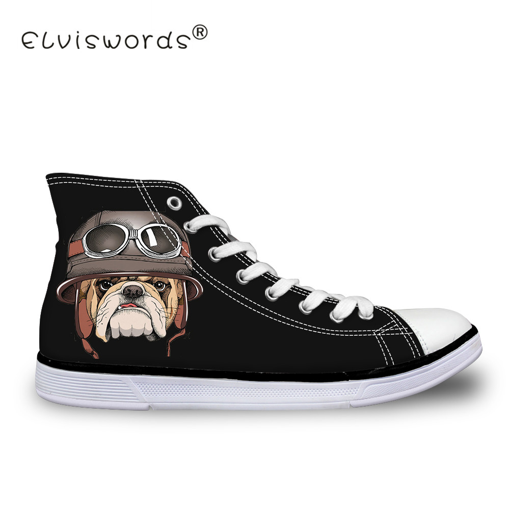 ELVISWORDS Women Vulcanize Shoes Canvas Shoes for Woman Animal Cute Dog Print Sneakers Casual Flat Students Walking Shoes Ladies e lov women casual walking shoes graffiti aries horoscope canvas shoe low top flat oxford shoes for couples lovers