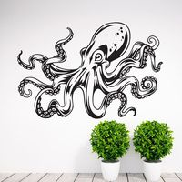 Sea Ocean Animal Octopus Tentacles Wall Decal Eco Friendly Vinyl Art Mural Barthroom Wall Sricker Glass