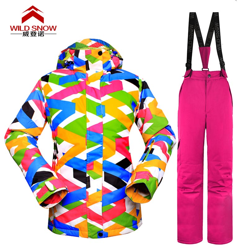 New WILD SNOW Women snow suit set Snowboard women sui Waterproof Windproof Womens Skiing Jackets and Pants Ski fem