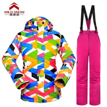 New WILD SNOW Women snow suit set Snowboard women sui Women Waterproof Windproof Womens Skiing Jackets and Pants Ski suit fem 2018 new lover men and women windproof waterproof thermal male snow pants sets skiing and snowboarding ski suit men jackets