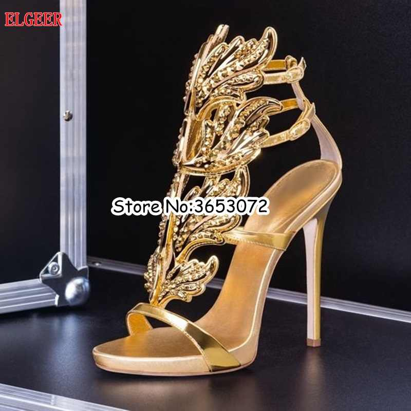 ... Hot Crystal Embellished Buckle Strap Stiletto High Heels Leaves Winged Women  Sandals Silver Gold  ... 747be8936977