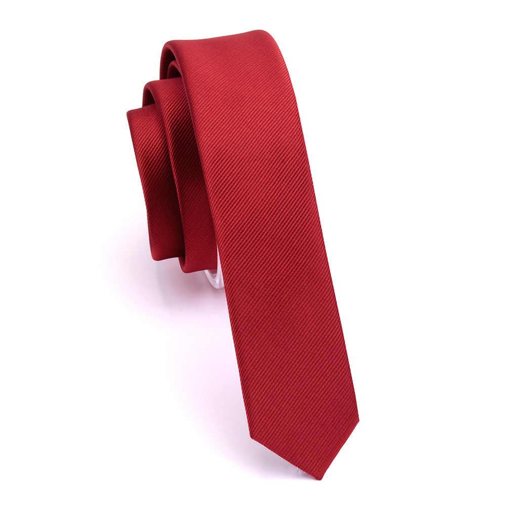 GUSLESON Kaliteli Rahat 4cm İnce Katı Kravat Kırmızı Sarı Yeşil Bağları El Yapımı Moda Erkekler Dokuma Sıska Kravat Düğün Için parti