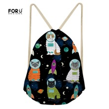 FORUDESIGNS Lovely Animal Space Cat Print Drawstring Bag String Sack Beach Women Men Travel Storage Package Canvas Mochila Mujer