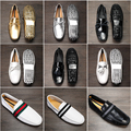 Summer Style fashion Soft Moccasins Men Loafers High Quality mettalic silver,gold Shoes Men stripe Flats Gommino Driving Shoes