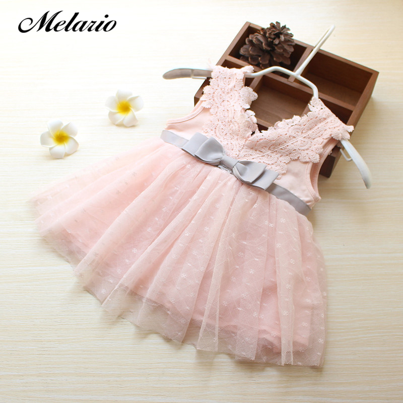 Melario Girls Dress 2018 Winter girls dress for kids clothes fashion Bowknot Dot Mesh Design dresses princess children summer