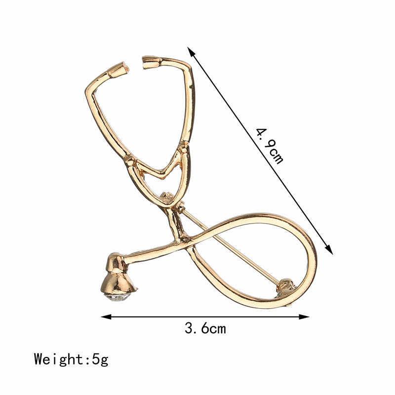 SexeMara عالية الجودة 2 اللون دبابيس معاطف للأطباء والممرضات السماعة بروش المجوهرات الطبية المينا دبوس الدينيم الستر طوق شارة دبوس