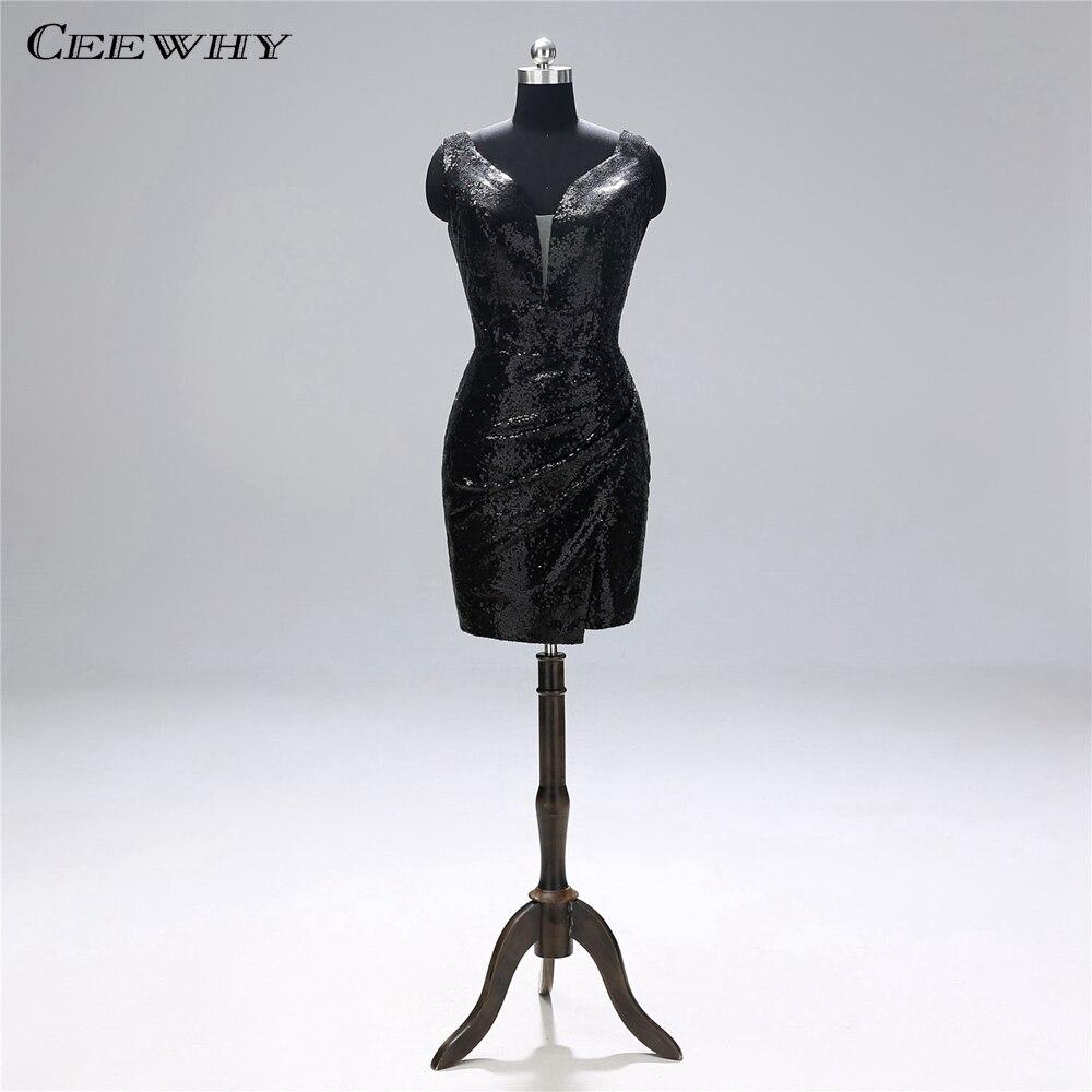 CEEWHY Open Back Little Black   Dress   Sequin Gown Short Formal   Dress   Women Elegant   Cocktail     Dresses   Vestidos de Coctel