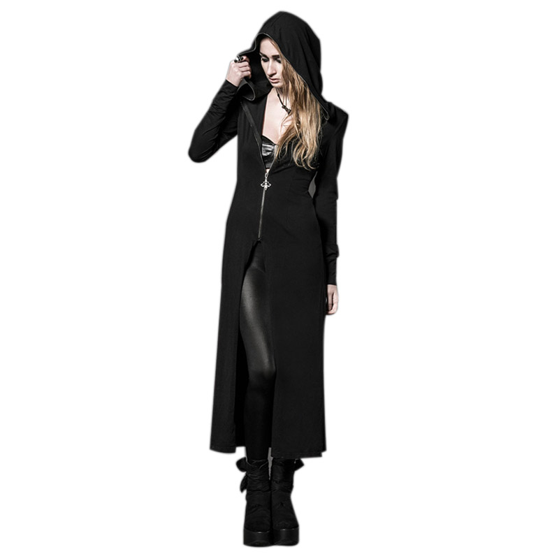 2019 Steampunk Coat with Long Witches's Hats Gothic Black Knitting Hoody Long   Trench   Coats Dark Black Large Size Dress
