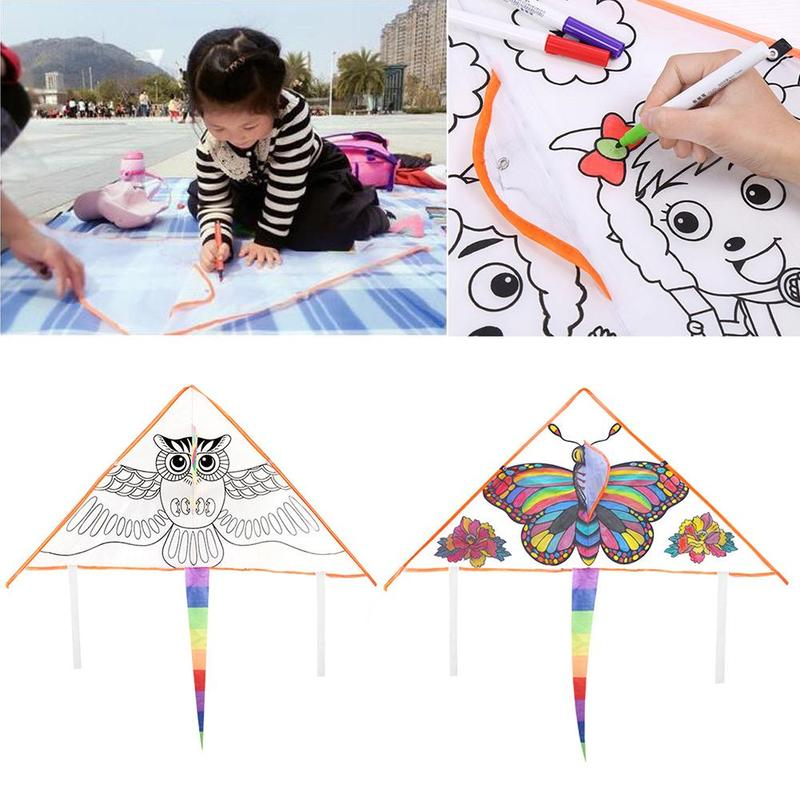 DIY Graffiti Kite Blank Triangle Kite Can Be Painted Nylon Outdoor Kites Flying Toys For Children Kids With 30m Lines