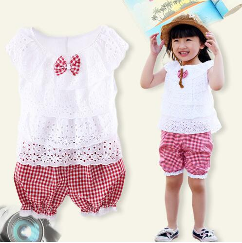 Kids Clothing Set New Arrival Summer Lace Children Girl Clothes Set T Shirt And Lattice shorts Pants 2 Colors 2017 cute kids girl clothing set off shoulder lace white t shirt tops denim pant jeans 2pcs children clothes 2 7y