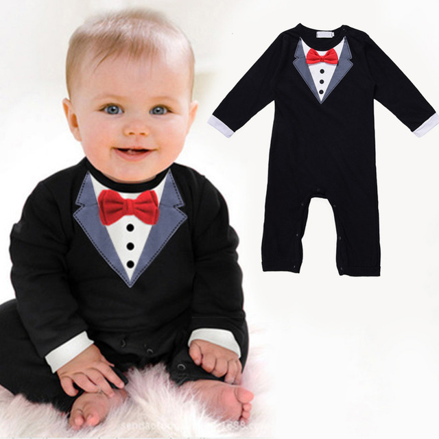 Baby Boy Gentleman Suit Clothes Baby Boy Cotton Jumpsuit Rompers