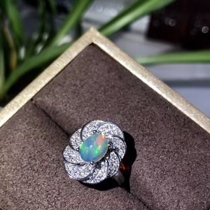 Image 5 - Natural opal woman rings change fire color mysterious  925 silver adjustable size