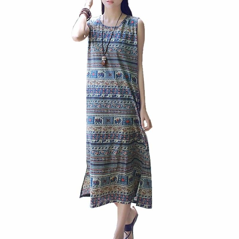 Long summer ethnic dress casual women 100 cotton elephant for Sleeveless dress shirt womens