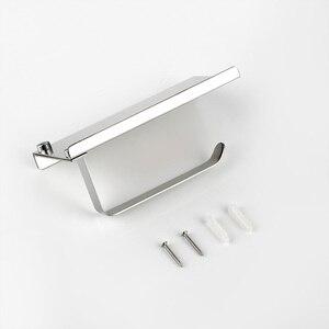 Image 4 - Kağıt tutucular cilalı krom altın gümüş siyah banyo tuvalet tutucu doku askısı paslanmaz çelik duvar montaj tutucu telefonu için