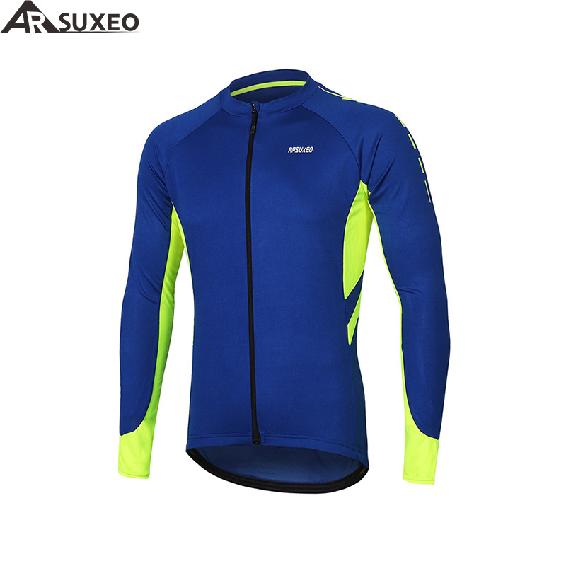 ARSUXEO Men's Full Zipper Cycling Jersey Bicycle Bike Shirt Long Sleeves MTB Mountain bike Jerseys Clothing Wear 6030