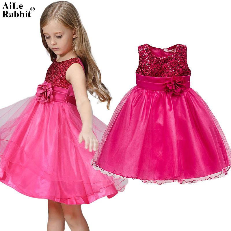 AiLe Rabbit New Summer Girls Ziemassvētku Cute Sequined Mesh Girl Apģērbs Flower Belt Princess Kleita Kids Birthday Party Apģērbi