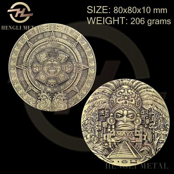 Ev ve Bahçe'ten Sahte Metal Paralar'de 5 adet/grup MEKSIKA SANAT Büyük Boy 80*10mm Büyük Mesoamerican Aztek Maya Takvimi Sikke Antika Bronz Madalyon maya Sikke'da  Grup 1