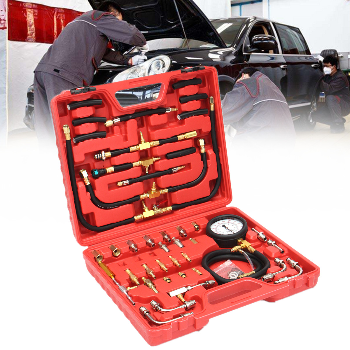 Injector Tester Test Pressure Gauge Kit Case 140psi Fuel Injection Pump Pressure Universal 32 Adapters 3-way-valve Vehicle car style tu 443 fuel injection pressure tester injector pump pressure gauge gasoline test set 0 140psi for cars