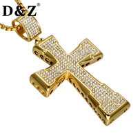 D&Z Religious Gold Color Iced Out Crystal Crucifix Cross Pendant Stainless Steel Rhinestone Cross Necklace for Men Jewelry