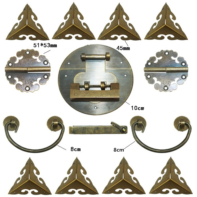 Chinese Brass Lock Set,For Wooden Box,Vase Buckle Metal Box Hasp Latch Lock,Decorative Hasp,Pattern Carved Hinge+Handle+Lock charm with lock buckle trumpet thickened wooden padlock hasp lock buckle buckle piece luggage accessories wooden doors
