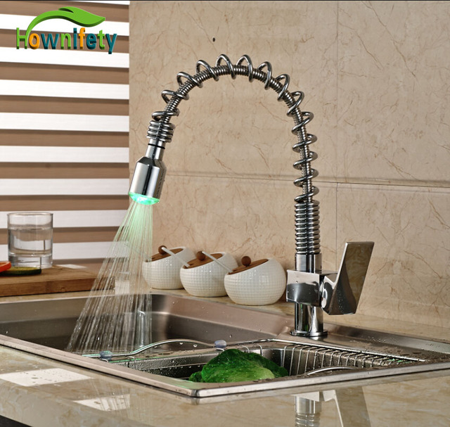Chrome Spring Pull Down Spray Kitchen Sink Faucet Single Handle One