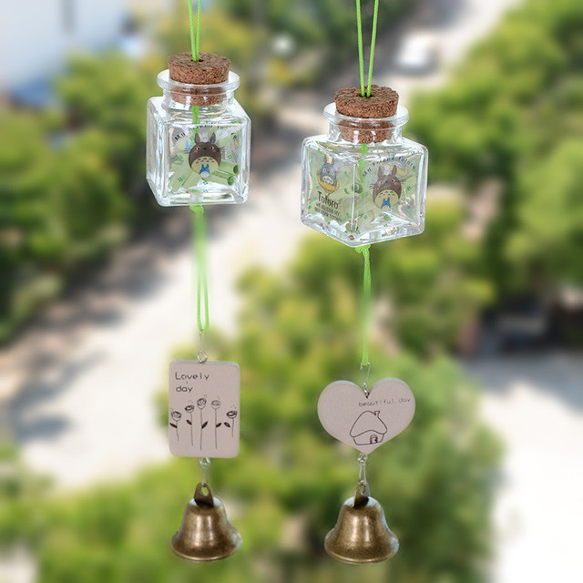 Totoro Cat Wooden Wind chimes Charm Wish 44*44*62mm Glass bottle Chimes  Metal