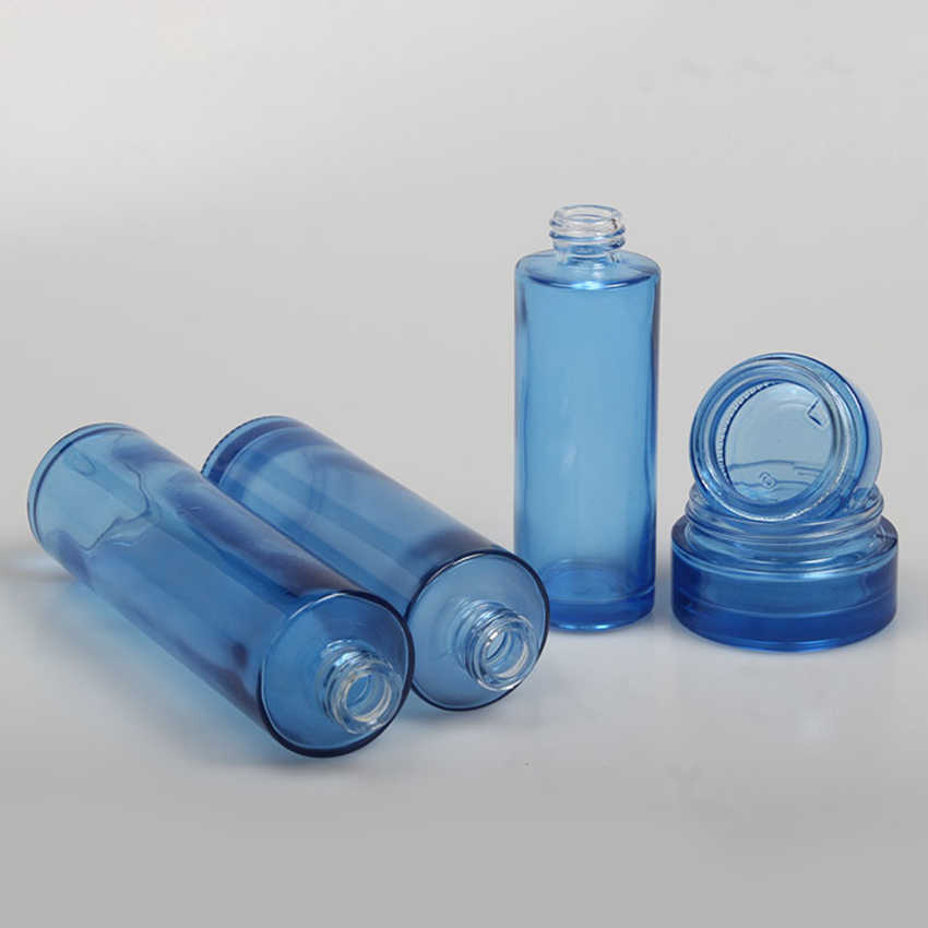 20 adet/grup 20 ml Mavi Cam Boş pompa şişesi Losyon Emülsiyon Pompası Cam Şişe Için 10 adet 30 ML 40 ML 60 ML 80 ML 100 ML 120 ML