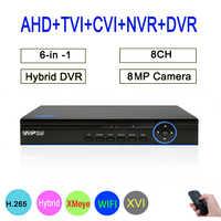 8MP Surveillance camera Hi3531D XMeye 8CH 8 Channel 6 in 1 Hybrid Coaxial Wifi XVI CCTV TVI CVI NVR AHD CCTV DVR Free Shipping
