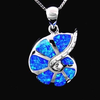 Wholesale & Retail Fashion Jewelry Fine Blue Fire Opal Stone Conch Pendants Necklace For Women PJ17091308