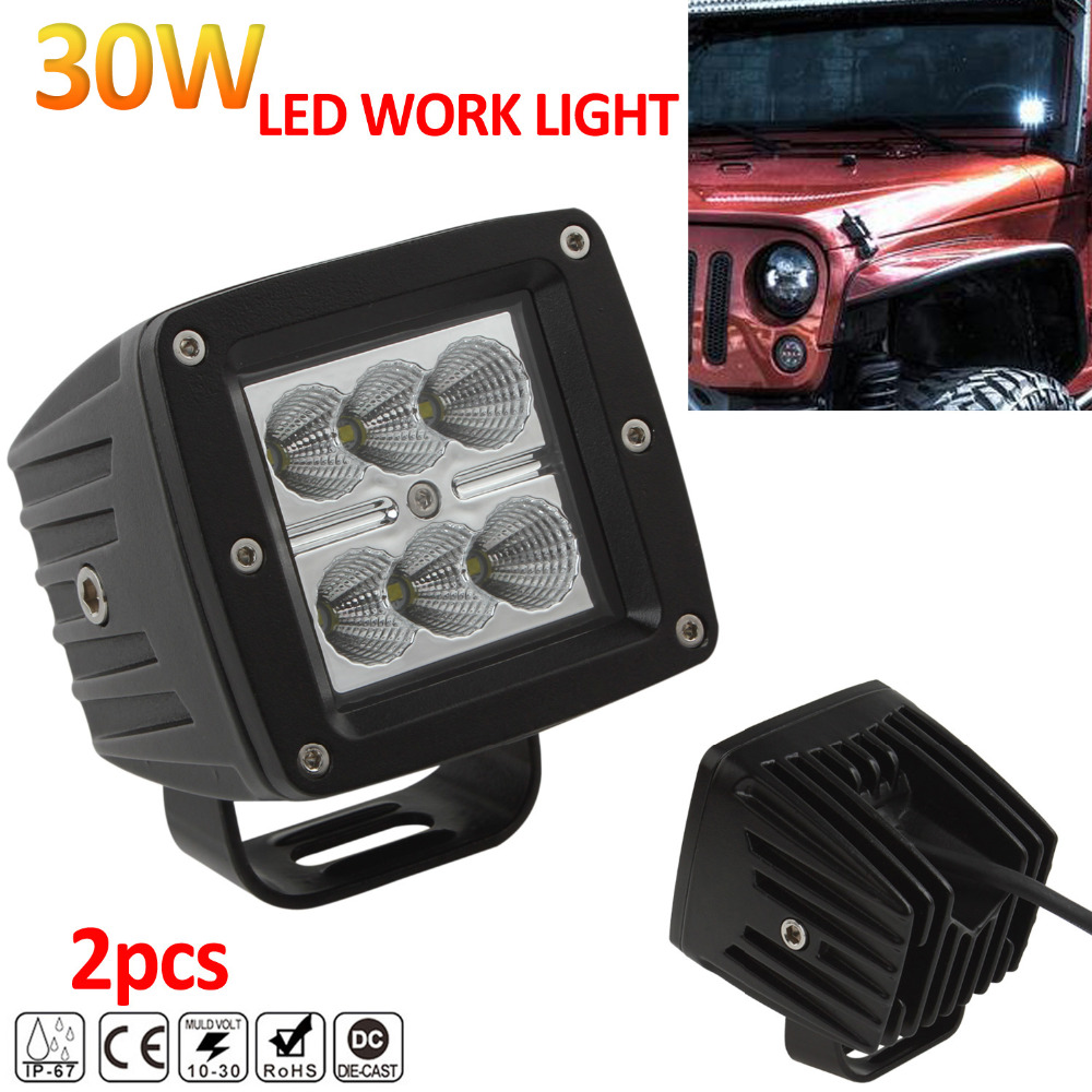 цена на 2pcs! 30W Waterproof Suqare Offroad Car LED Work Light Lamp for Auto Motorcycle Tractor Boat Off road ATV Spot Flood Worklight