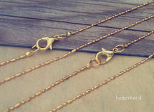 50pcs/lot  1.2mm gold color 1:1 necklace pendant chain With lobster Clasp 22inche