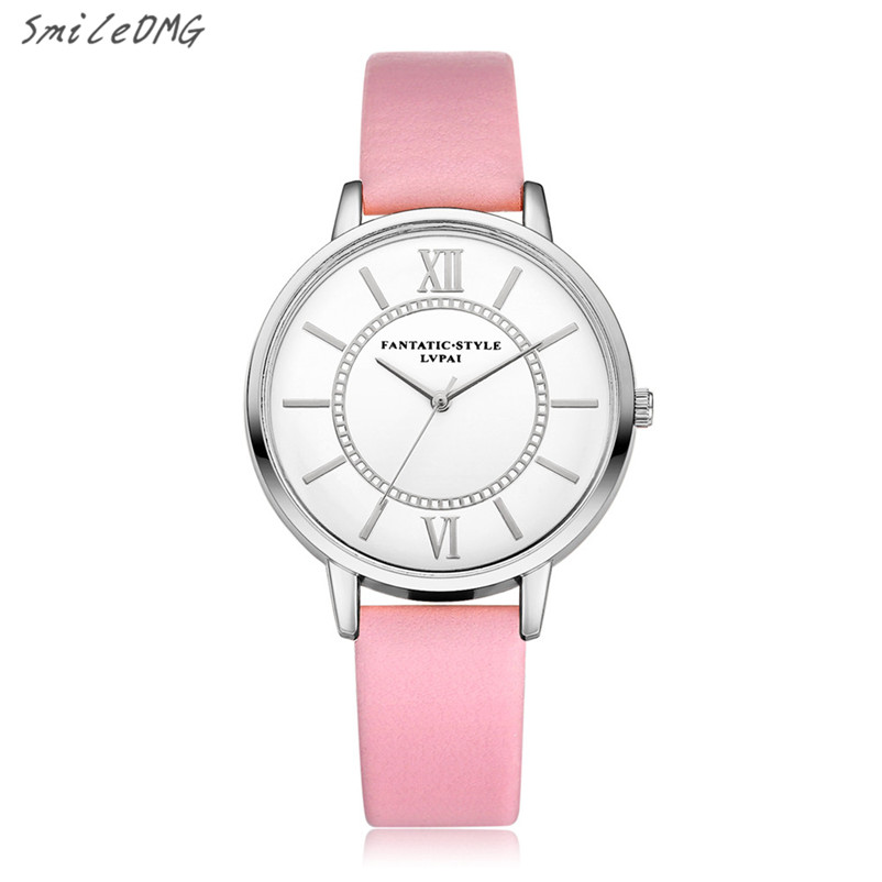 SmileOMG Fashion  Roman Numeral Women Watch Leather Quartz Analog Wrist Watch Gift Hot Sale Free Shipping ,Oct 11 smileomg hot sale fashion women watch panda faux leather band analog quartz wrist watch christmas gift free shipping sep 6